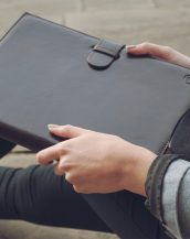 The Gallo A4 Luxury Leather Padfolio is handcrafted from luxury Italian leather with a sleek leather strap fastening on the front.