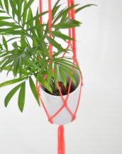Suitable for indoor use, the Macrame Plant Hanger Neon Pink works great in small rooms and on balconies.