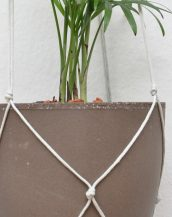 Suitable for indoor use, the Macrame Plant Hanger Silver Grey works great in small rooms and on balconies.