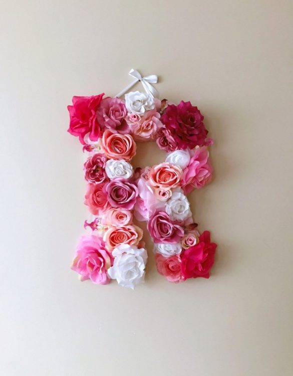 Completely handmade, the Pink and White Custom Flower Letter is a great for decoration at a wedding using the couples initials, and a lovely keepsake for afterwards.