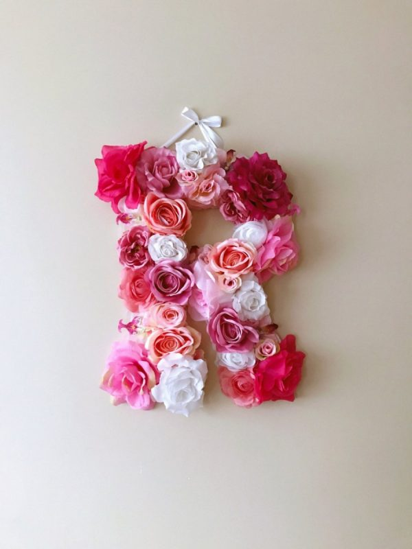MSDAVF016 – Pink and White Custom Flower Letter – PINK