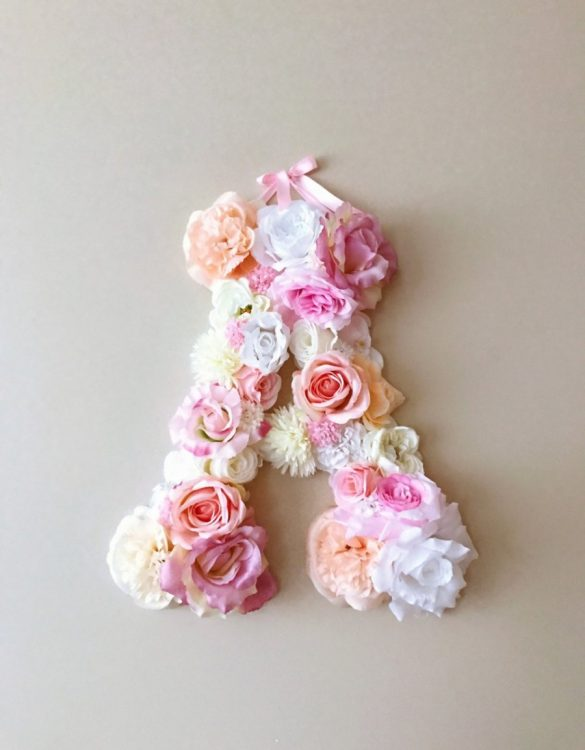Completely handmade, the Soft Pink Custom Flower Letter is a great for decoration at a wedding using the couples initials, and a lovely keepsake for afterwards.