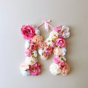 Completely handmade, the Bright Coral Pink Custom Flower Letter is a great for decoration at a wedding using the couples initials, and a lovely keepsake for afterwards.