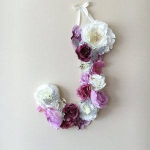 Completely handmade, the Violet Custom Flower Letter is a great for decoration at a wedding using the couples initials, and a lovely keepsake for afterwards.