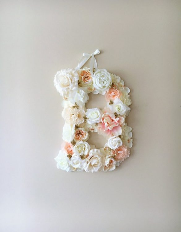 Completely handmade, the Light Ballet Pink Custom Flower Letter is a great for decoration at a wedding using the couples initials, and a lovely keepsake for afterwards.