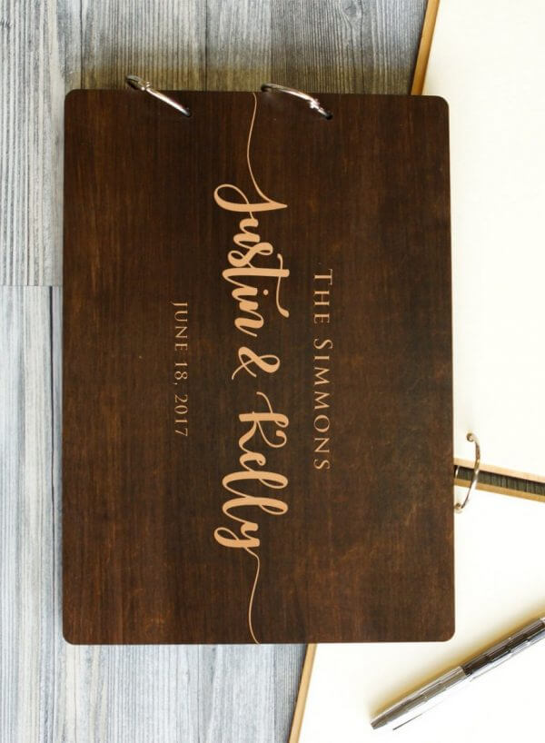 MSGFSP001 – Personalised Wooden Wedding Guest Book – The Simmons – Palisander – 1