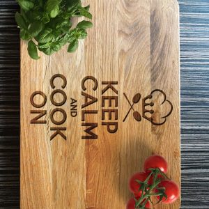 Ideal for use as a small chopping, the Personalised Cutting Board - Keep Calm Cook On makes a beautiful centrepiece for your table.