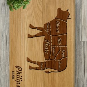 Ideal for use as a small chopping, the Personalised Cutting Board - Cuts of Meat makes a beautiful centrepiece for your table.