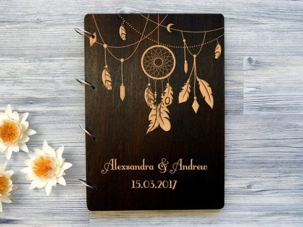 MSGFSP006 – Personalised Wooden Wedding Guest Book – Dreamcatcher – Palisander