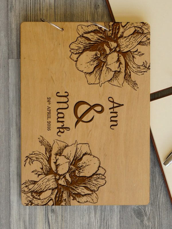 MSGFSP007 – Personalised Wedding Guest Book – Flower – Natural Wood – 2