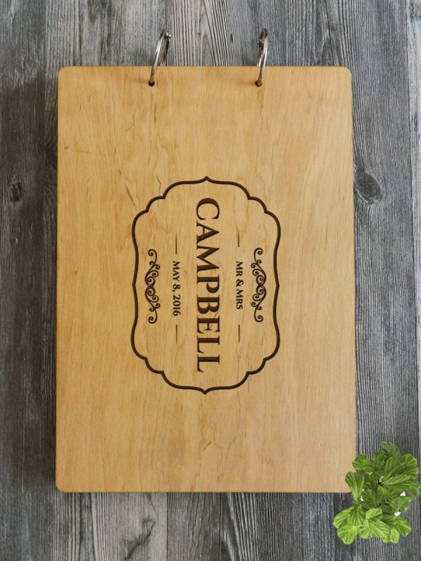 Personalised Wooden Wedding Guest Book – Campbell – Natural Wood – 3