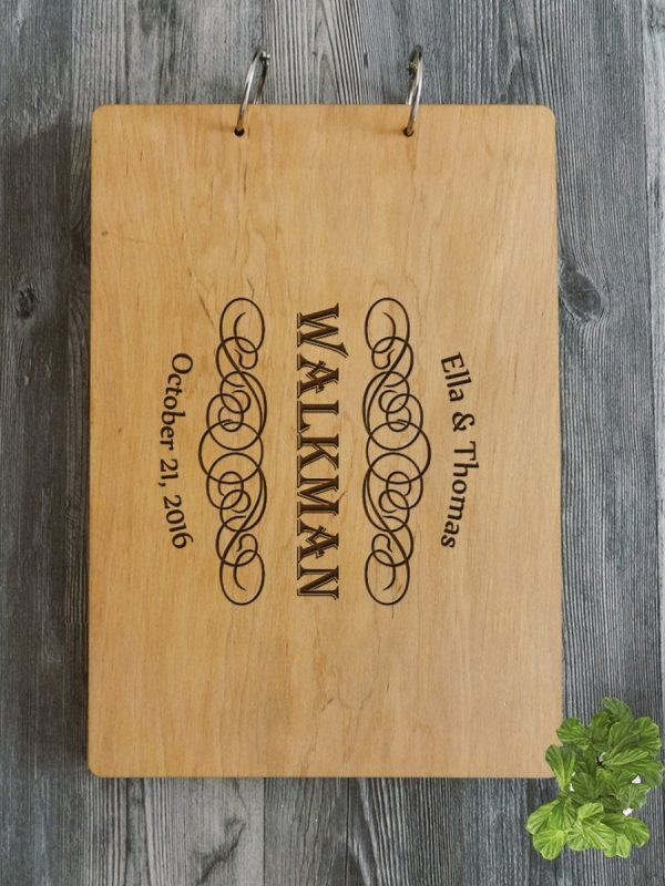 Personalised Wooden Wedding Guest Book – Walkman – Natural Wood – 2