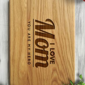 Ideal for use as a small chopping, the Personalised Cutting Board - I Love You Mom makes a beautiful centrepiece for your table.
