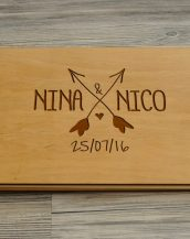 Available in A4 and A5 size, the Personalised Wooden Wedding Guest Book - Nina & Nico is a beautiful Wedding Guest Book made of wood that will accurately keep your memories about this special day.