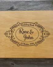 Available in A4 and A5 size, the Personalised Wooden Wedding Guest Book - Rose & John is a beautiful Wedding Guest Book made of wood that will accurately keep your memories about this special day.
