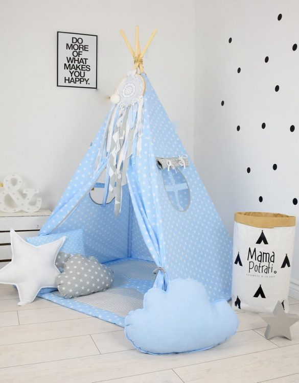 Add the perfect touch to your child's room with the Baby Blue Children's Teepee Tent. Let your little enjoy their own teepee for hours of play time and imagination.