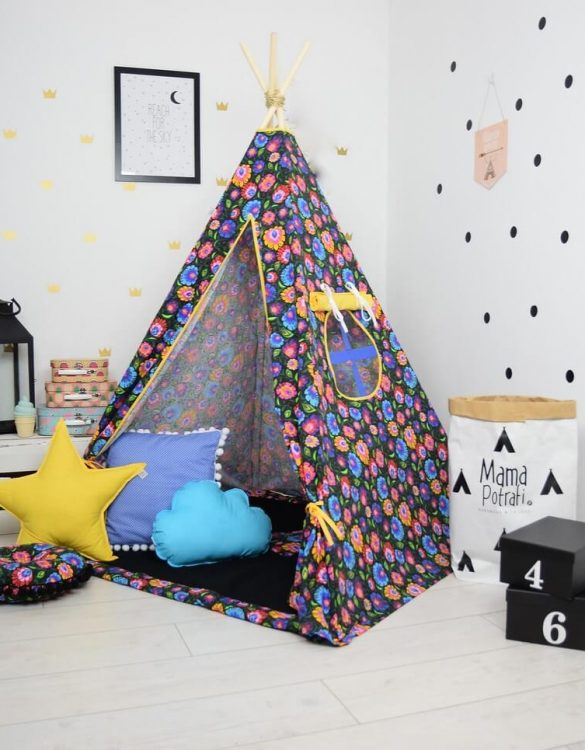 Add the perfect touch to your child's room with the Folk Love Black Children's Teepee Tent. Let your little enjoy their own teepee for hours of play time and imagination.
