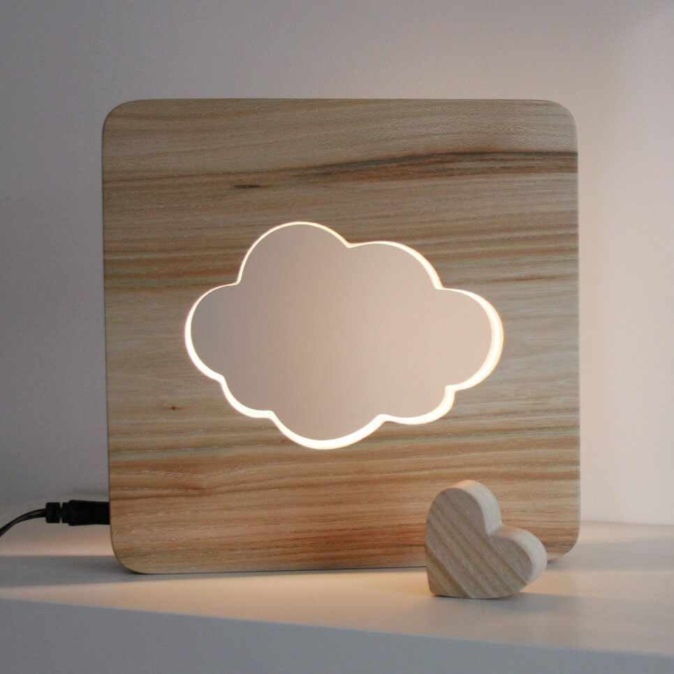 MSHWLH010 – Cloud Nursery Lamp – Elm Wood – 2