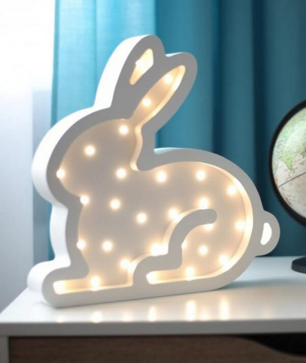 MSHWLH011 – Bunny Wooden Night Light – White