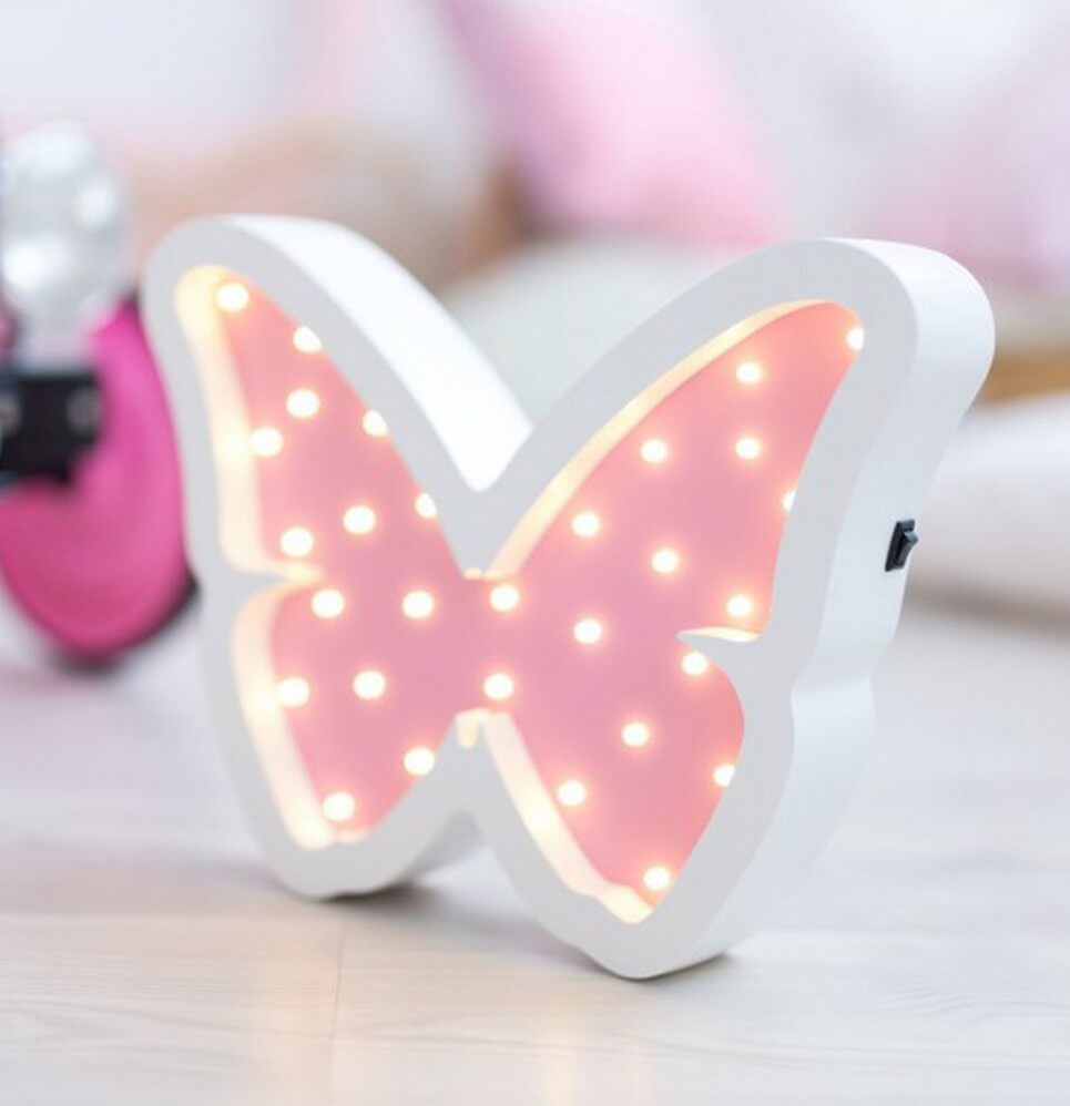 MSHWLH014 – Butterfly Wooden Night Light – Rose – 5