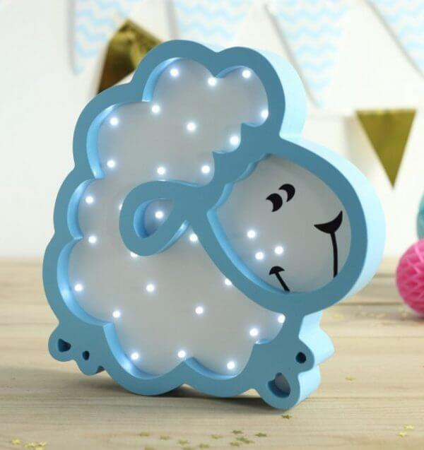 MSHWLH016 – Sheep Wooden Night Light – Blue – 4