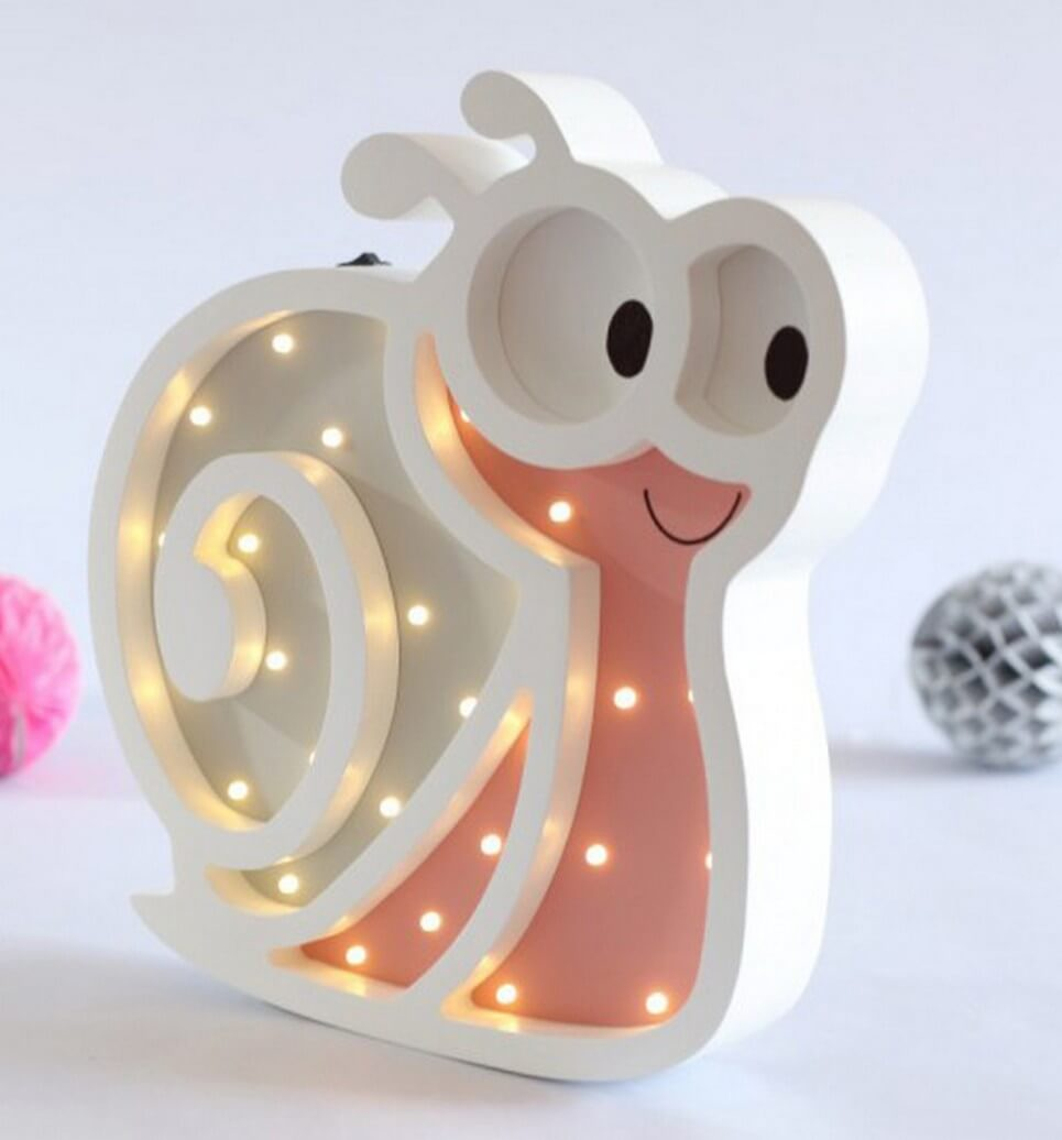 MSHWLH017 – Snail Wooden Night Light – Rose – 3