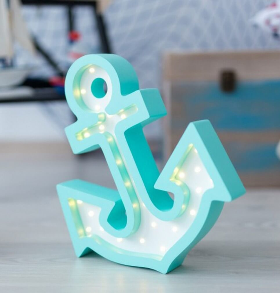MSHWLH018 – Anchor Wooden Night Light – White and Blue – 4