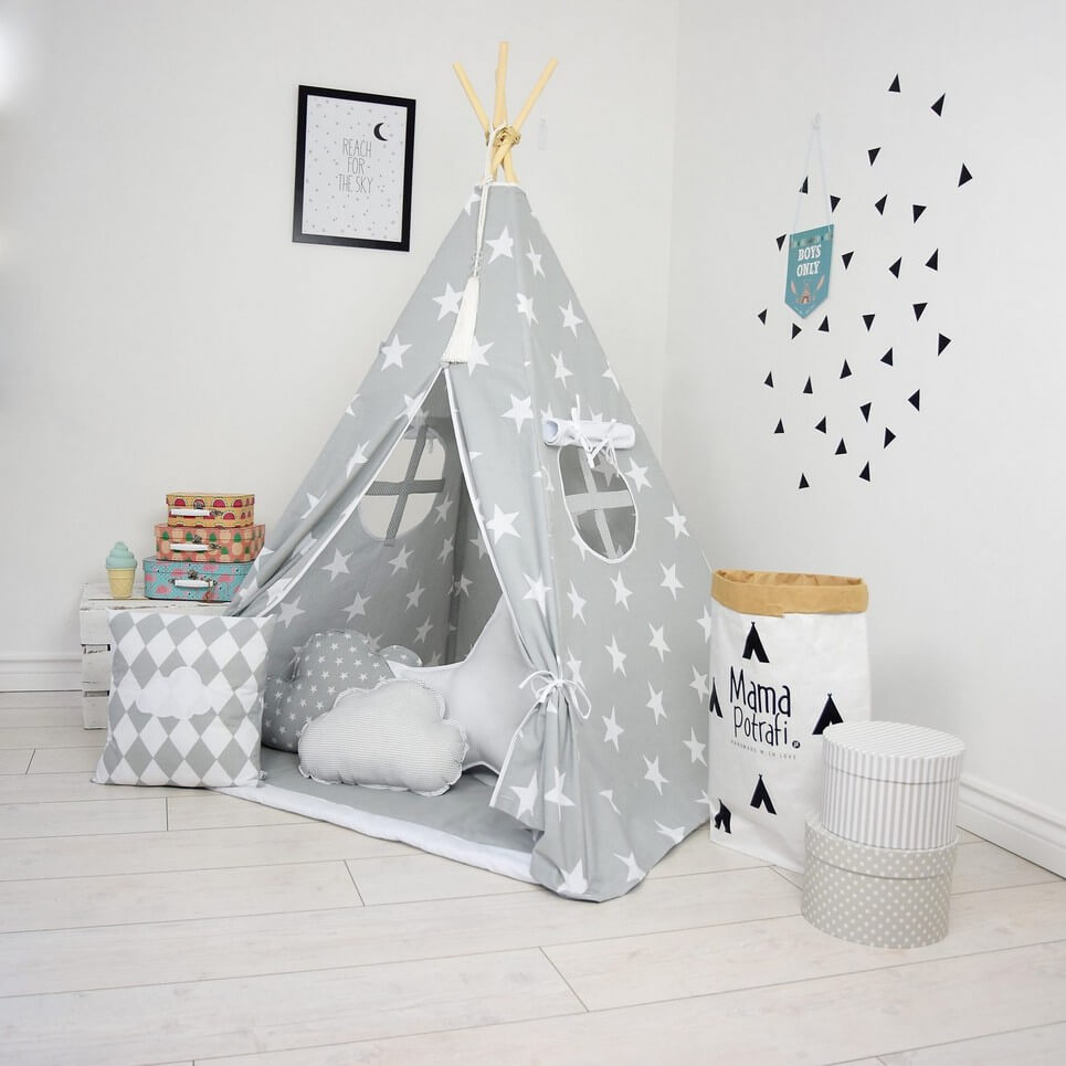 grey day children 39 s teepee tent decorative kids 39 play. Black Bedroom Furniture Sets. Home Design Ideas