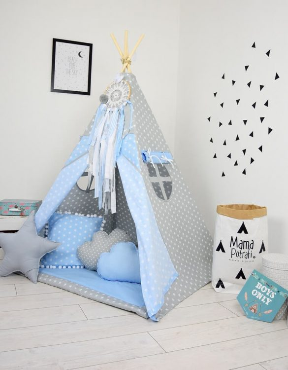 Add the perfect touch to your child's room with the Ice Blue Children's Teepee Tent. Let your little enjoy their own teepee for hours of play time and imagination.