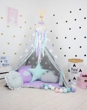 Add the perfect touch to your child's room with the Lavender Dream Children's Teepee Tent. Let your little enjoy their own teepee for hours of play time and imagination.