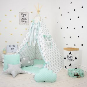 Add the perfect touch to your child's room with the Mint Breeze Children's Teepee Tent. Let your little enjoy their own teepee for hours of play time and imagination.