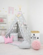 Add the perfect touch to your child's room with the Powder Pink Sky Children's Teepee Tent. Let your little enjoy their own teepee for hours of play time and imagination.