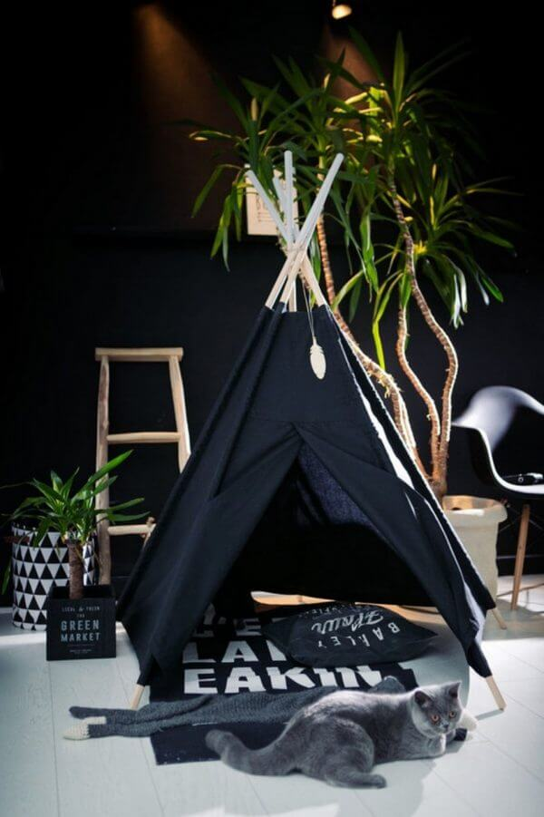 Pure Black Children's Play Teepee