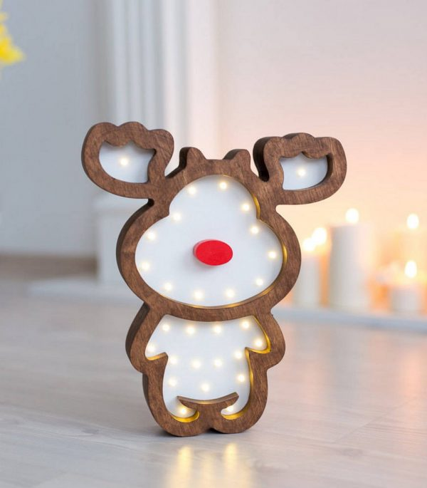 Deer Wooden Night Light – Brown – 3