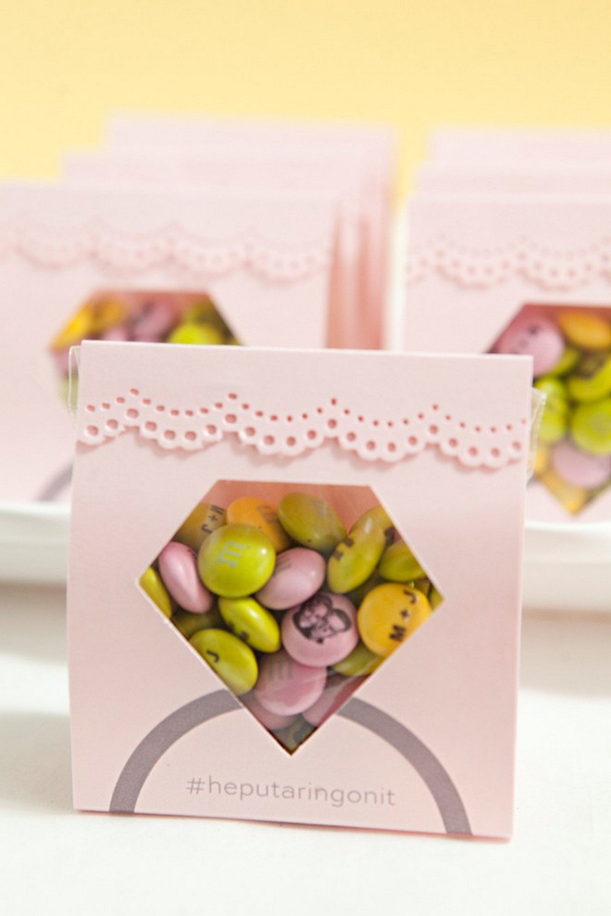 They might be less than pint-sized, but these wedding favor candy boxes can hold flavor-packed goodies that will make a huge impact.
