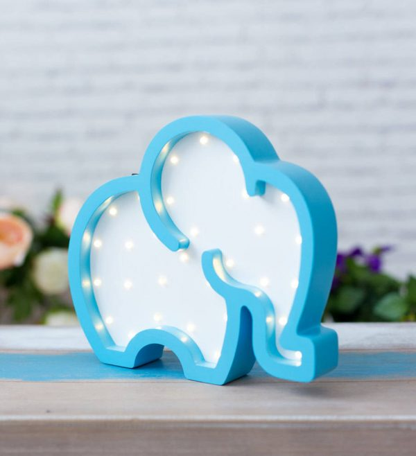 Elephant Wooden Night Light – Blue – 4