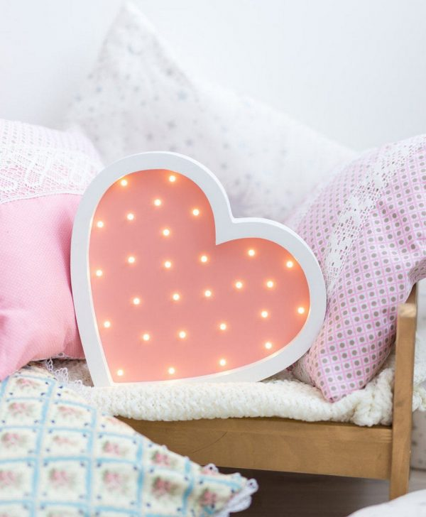 Heart Wooden Night Light – Rose – 4