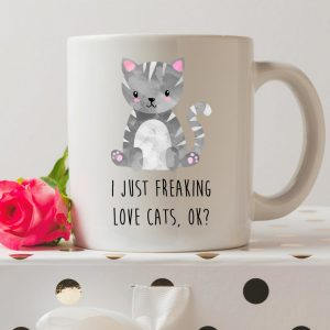 Sip your favourite tea or coffee with the I Just Freaking Love Cats, Ok? - Coffee Mug that makes a fantastic present or a little treat for yourself.