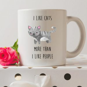 Sip your favourite tea or coffee with the I Like Cats More Than I Like People Coffee Mug that makes a fantastic present or a little treat for yourself.