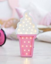 With a charming design, the Ice Creme Wooden Night Light provides a reassuring glow for your little one, making it perfect for a nursery or kids room nightlight, or an interesting addition to any other space.