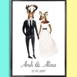 Add some effortless style to your home with the Personalised Wedding Print - Deer that will compliment your interior décor.