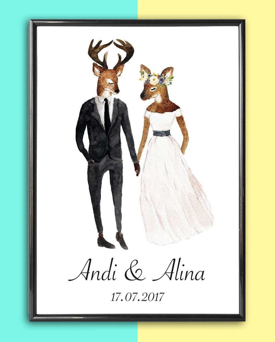 Personalised Wedding Print – Deer_2