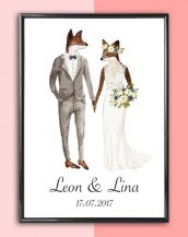 Add some effortless style to your home with the Personalised Wedding Print - Fox Bride that will compliment your interior décor.