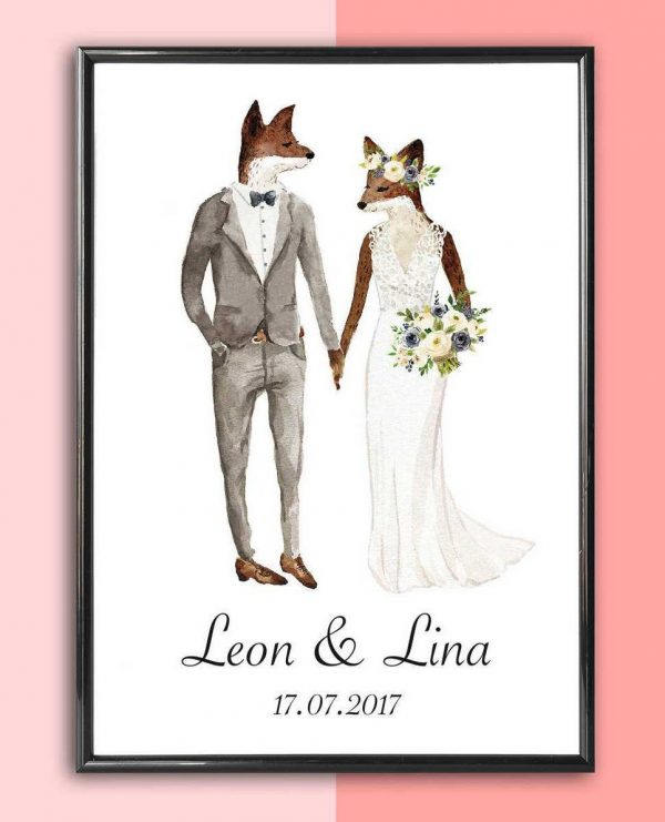 Personalised Wedding Print – Fox Bride_2