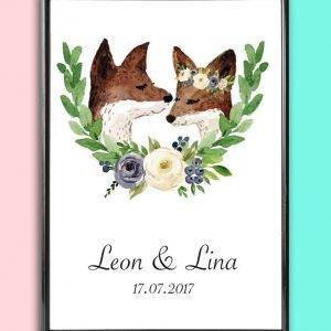 Add some effortless style to your home with the Personalised Wedding Print - Fox Love that will compliment your interior décor.