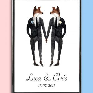 Add some effortless style to your home with the Personalised Wedding Print - Fox Men that will compliment your interior décor.