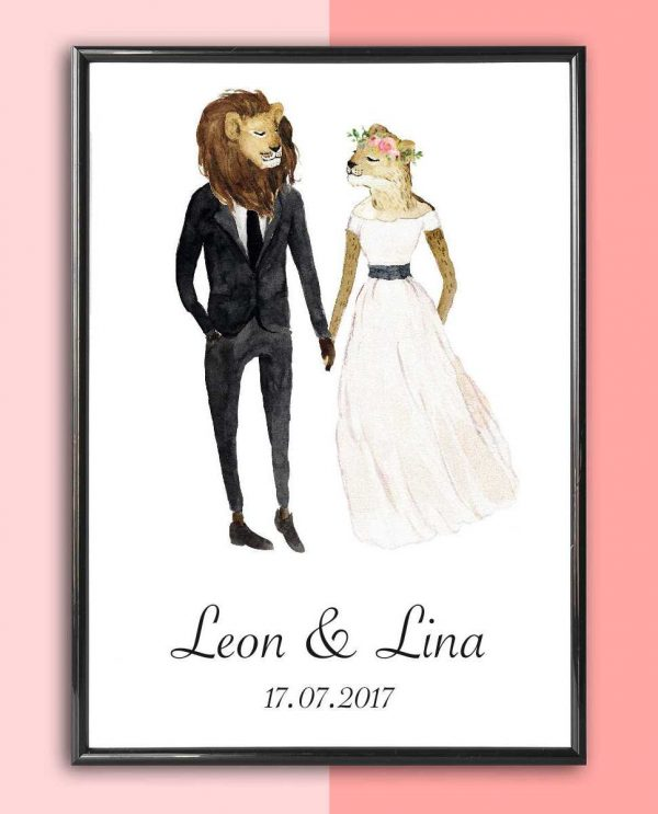 Personalised Wedding Print – Lion_2