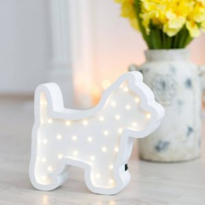 With a charming design, the Puppy Wooden Night Light provides a reassuring glow for your little one, making it perfect for a nursery or kids room nightlight, or an interesting addition to any other space.