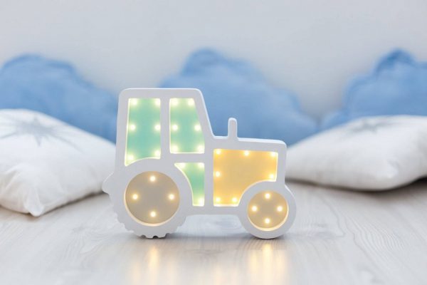 Tractor Wooden Night Light – White and Yellow