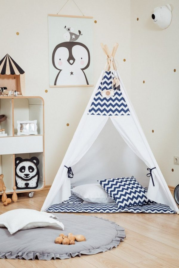 Blue Chevron Children's Teepee Set